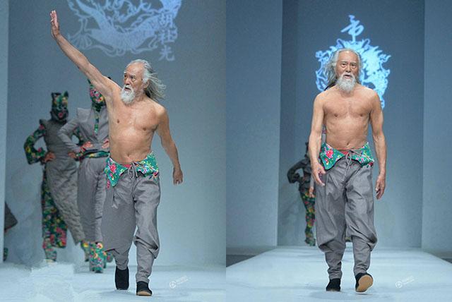 Un Homme de 79ans fait sensation à la Fashion Week de Pékin